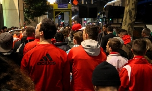 Fans flock to team hotel to welcome Liverpool to Melbourne