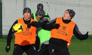 Latihan sebelum Man City vs. LFC