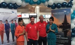 Fowler dan Rush sambut penerbangan perdana Garuda dari Jakarta ke London